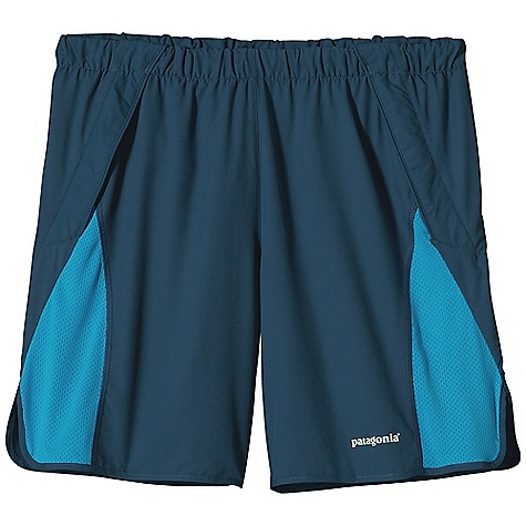 Camp and Hike Free Shipping. Patagonia Men's Trail Chaser Short DECENT FEATURES of the Patagonia Men's Trail Chaser Short Made of ultra-lightweight and fast-drying polyester fabric with a smooth hand for chafe-free comfort Elastic waistband with embedded drawcord Two front drop-in gel pockets Rear envelope pocket with key loop Colored reflective logo on front and back The SPECS Regular fit Inseam: 7in., Split: 3in. Weight: 3.8 oz / 108 g Body: 2.3-oz 50-denier 100% polyester (50% recycled) microdobby Inset and Rear Pocket: 3.2-oz 100% polyester airflow mesh With moisture-wicking performance and a Deluge DWR (durable water repellent) finish This product can only be shipped within the United States. Please don't hate us. - $55.00