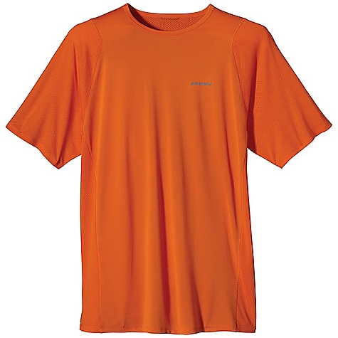 Free Shipping. Patagonia Men's S-S Air Flow Shirt DECENT FEATURES of the Patagonia Men's Short Sleeve Air Flow Shirt Moisture-wicking Capilene 1 fabric in the body, with breathable air flow mesh underarm panels, and 15-UPF sun protection Self-fabric crewneck won't bind and wicks moisture Minimal seam construction won't chafe or restrict movement Air Flow mesh underarm panels provide breathable, quick-dry performance Colored reflective logos on left chest and center back The SPECS Slim fit Weight: 3.7 oz / 105 g Body: 3.4-oz 100% recycled polyester Panel: 3.2-oz 100% polyester mesh With 15-UPF sun protection and Gladiodor odor control for the garment This product can only be shipped within the United States. Please don't hate us. - $55.00