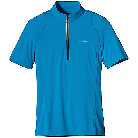 Patagonia Men's S-S Fore Runner 1-4 Zip Shirt DECENT FEATURES of the Patagonia Men's Short Sleeve Fore Runner 1/4 Zip Shirt Made of moisture-wicking, breathable polyester double-knit fabric with 30-UPF sun protection Deep zip ventilates and covers the neck for sun protection Offset shoulder seams reduce chafing Reflective center-front zipper Reflective logo on front and back The SPECS Slim fit Weight: 4.1 oz / 116 g 3.5-oz 100% polyester double knit with 30-UPF sun protection and Gladiodor odor control for the garment This product can only be shipped within the United States. Please don't hate us. - $49.00