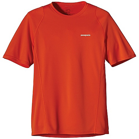 Patagonia Men's S-S Fore Runner Shirt DECENT FEATURES of the Patagonia Men's Fore Runner Short Sleeve Shirt Moisture-wicking, breathable polyester double-knit with 30-UPF sun protection Self-fabric crewneck wicks moisture and won't bind Offset shoulder seams reduce chafe Reflective logos on chest and center back neck The SPECS Slim fit Weight: 3.5 oz / 99 g 3.5-oz 100% polyester double knit with 30-UPF sun protection and Polygiene permanent odor control This product can only be shipped within the United States. Please don't hate us. - $39.00