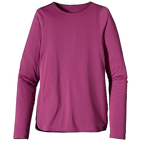 Free Shipping. Patagonia Women's L-S Draft Shirt DECENT FEATURES of the Patagonia Women's Long Sleeve Draft Shirt Moisture-wicking Capilene 1 fabric in the body, with breathable Air Flow mesh underarm panels, and 15-UPF sun protection Brushed 1/4in. neck binding for added low profile styling and comfort Air Flow mesh underarm panels provide breathable, quick-dry performance Minimal seam construction won't chafe skin or restrict movement Colored reflective logos on left hem and center back The SPECS Slim fit Weight: 3.8 oz / 108 g Body: 3.4-oz 100% recycled polyester Panel: 3.2-oz 100% polyester mesh. With 15-UPF sun protection and Gladiodor odor control for the garment This product can only be shipped within the United States. Please don't hate us. - $55.00