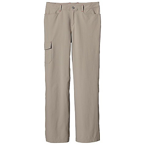 Climbing Free Shipping. Patagonia Women's Rock Craft Pant DECENT FEATURES of the Patagonia Women's Rock Craft Pant Lightweight climbing and trekking pants made of stretchy nylon with a DWR finish and 40-UPF sun protection Has belt loops, metal button and zippered fly Gusset for mobility Two front drop-in pockets Two back drop-in pockets with flaps Cargo pocket on right thigh Pocket flaps have snaps and decorative trim The SPECS Regular fit, Regular rise, Straight Leg 4.5-oz 96% nylon, 4% spandex with a DWR finish and 40-UPF sun protection Inseam: 32in. This product can only be shipped within the United States. Please don't hate us. - $79.00