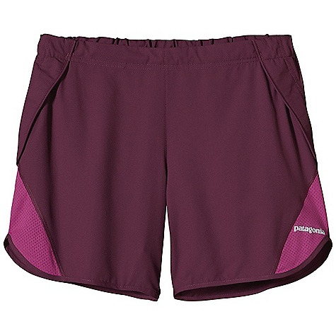 Camp and Hike Free Shipping. Patagonia Women's Trail Chaser Short DECENT FEATURES of the Patagonia Women's Trail Chaser Short Made of ultra-lightweight and fast-drying polyester fabric with a smooth hand for chafe-free comfort Flat front waistband with rear elastic and embedded draw cord Two front drop-in gel pockets rear envelope pocket with key loop Colored reflective logo on front and back The SPECS Inseam: 5in. with a 2in. split Regular fit Weight: 3 oz / 85 g Body: 2.3-oz 50-denier 100% polyester (50% recycled) micro dobby Inset and Rear Pocket: 3.2-oz 100% polyester airflow mesh. with moisture-wicking performance and a Deluge DWR (durable water repellent) finish This product can only be shipped within the United States. Please don't hate us. - $55.00