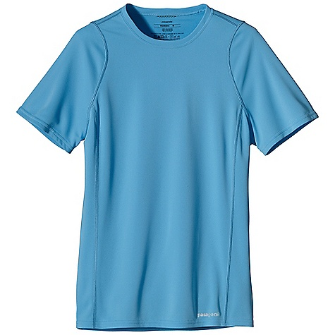 Patagonia Women's S-S Fore Runner Shirt DECENT FEATURES of the Patagonia Women's Fore Runner Short Sleeve Shirt Moisture-wicking, breathable polyester double-knit with 30-UPF sun protection Self-fabric crewneck wicks moisture and won't bind Offset shoulder seams reduce chafe Reflective logos on left hem and center back neck The SPECS Slim fit Weight: 2.8 oz / 79 g 3.5-oz 100% polyester double knit with 30-UPF sun protection and Polygiene permanent odor control This product can only be shipped within the United States. Please don't hate us. - $39.00