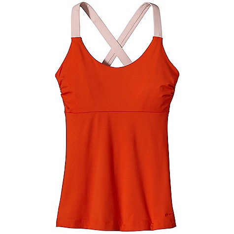 Fitness Free Shipping. Patagonia Women's Innerspace Tank DECENT FEATURES of the Patagonia Women's Innerspace Tank Soft and stretchy synthetic jersey-knit fabric wicks moisture, dries quickly and has a brushed face Scoop-neck top with wide cross-back straps Supportive internal shelf bra has mesh inset and can accommodate removable cups Under bust seams for style and support Contrast stitching on back seam Hip length The SPECS Slim fit 5.4-oz 85% polyester 15% spandex brushed jersey knit, with moisture-wicking performance This product can only be shipped within the United States. Please don't hate us. - $55.00