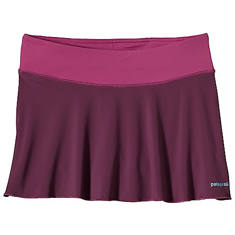 Patagonia Women's All Weather Skirt DECENT FEATURES of the Patagonia Women's All Weather Skirt Made of a durable and soft polyester/spandex knit blend Flattering waistband with a lay flat drawcord Center-back envelope pocket with key loop Two internal, front drop-in gel pockets Boy-short liner with shaped leg for chafe-free comfort Reflective logo on front and back The SPECS Regular fit Center Back Length: 12 1/2in. Weight: 5.2 oz / 147 g 5.6-oz 88% polyester, 12% spandex Pocket: 3.2-oz 100% polyester mesh This product can only be shipped within the United States. Please don't hate us. - $49.00