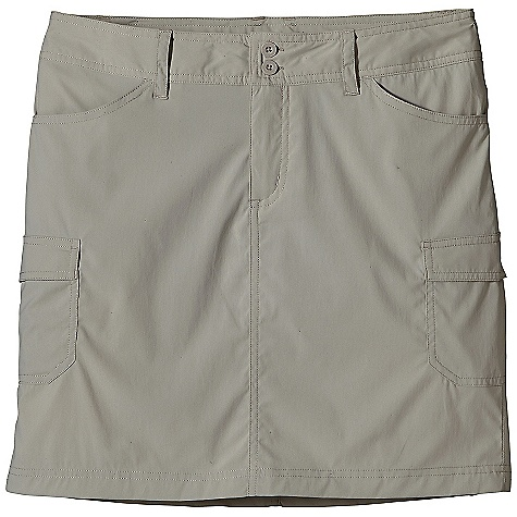 Features of the Patagonia Women's Solimar Skirt Lightweight stretch fabric with 30-UPF sun protection and DWR finish Skirt has belt loops, zippered fly and double-button closure Two front drop-in pockets Two back drop-in pockets with flaps Two cargo pockets on tHigh Back yoke for shaping 16in. from waistband to hem - $35.99