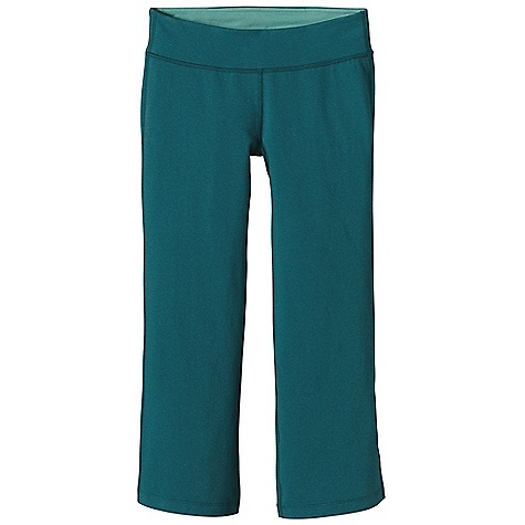 Fitness Free Shipping. Patagonia Women's Serenity Capri DECENT FEATURES of the Patagonia Women's Serenity Capri Soft organic cotton provides comfort and breathability spandex provides mobility Waistband is wide, flat and flattering with contrast mini-stripe lining With an improved, updated fit Gusset for mobility The SPECS Slim fit, Low rise, Boot Cut Inseam: 22in. 9.4-oz 89% organic cotton, 11% spandex heathered knit This product can only be shipped within the United States. Please don't hate us. - $69.00