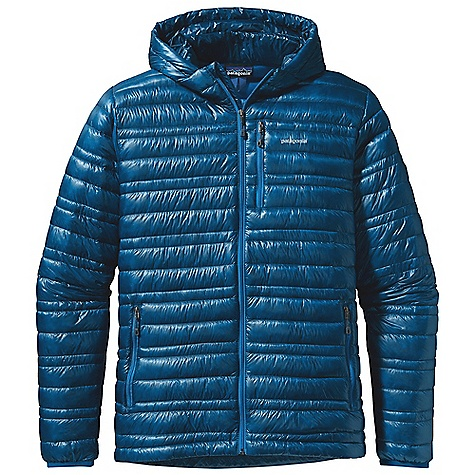 Free Shipping. Patagonia Men's Ultralight Down Hoody DECENT FEATURES of the Patagonia Men's Ultralight Down Hoody The lightest-weight, strongest shell fabric we've ever engineered for down garments with a Deluge DWR finish 800-fill-power premium European goose down for low-bulk warmth Variegated channel construction stabilizes insulation and also allows the use of less down, creating an elegant, low-profile garment Low-profile, adjustable hood seals out wind Zippered pockets: two hand warmers, one chest Drawcord hem seals out cold and spindrift Self-fabric stuff sack The SPECS Slim fit Weight: 9.3 oz / 264 g Shell and Lining: 0.8 oz 10-denier 100% nylon ripstop with a Deluge DWR (durable water repellent) finish Insulation: 800-fill-power premium European goose down This product can only be shipped within the United States. Please don't hate us. - $329.00