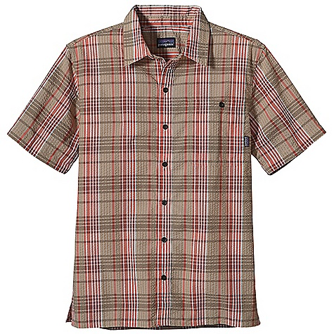 Free Shipping. Patagonia Men's Puckerware Shirt DECENT FEATURES of the Patagonia Men's Puckerware Shirt Made of an all-recycled polyester/organic cotton blend that dries quickly Textured fabric lifts the shirt away from skin for warm-weather comfort Button-front shirt with button-through, left-chest patch pocket and side vents Straight hem The SPECS Regular fit 2.3-oz 53% nylon, 48% polyester plain weave, with 30-UPF sun protection This product can only be shipped within the United States. Please don't hate us. - $69.00