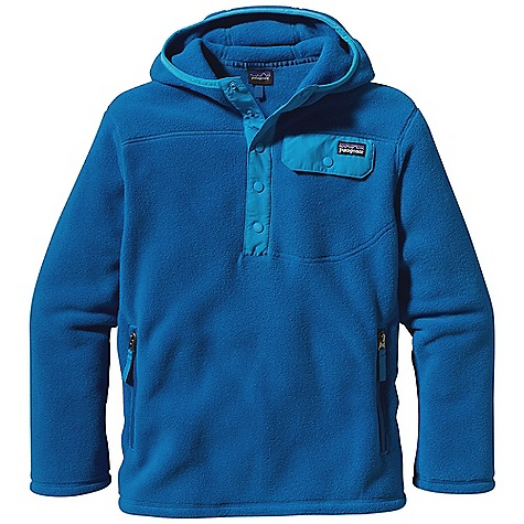 Free Shipping. Patagonia Boy's Leightweight Snap-T Hoody DECENT FEATURES of the Patagonia Boys' Leightweight Snap-T Hoody Made of durable 8.3-oz polyester double-faced fleece 3-panel hood construction 4-snap placket reinforced with Supplex nylon Chest pocket with Supplex nylon flap and snap closure Front and back yoke seams Kangaroo-style hand warmer pockets Spandex binding on hood opening, cuffs and hem Hip length The SPECS Regular fit Weight: 12.9 oz / 366 g 8.3-oz 100% polyester double-faced fleece This product can only be shipped within the United States. Please don't hate us. - $79.00
