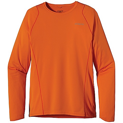 Patagonia Men's L-S Fore Runner Shirt DECENT FEATURES of the Patagonia Men's Long Sleeve Fore Runner Shirt Made of moisture-wicking, breathable polyester double-knit fabric with 30-UPF sun protection Self-fabric crewneck wicks moisture and won't bind Offset shoulder seams reduce chafing Reflective logos at left chest and below neck The SPECS Slim fit Weight: 4.7 oz / 133 g 3.5-oz 100% polyester double-knit with 30-UPF sun protection and Gladiodor odor control for the garment This product can only be shipped within the United States. Please don't hate us. - $45.00