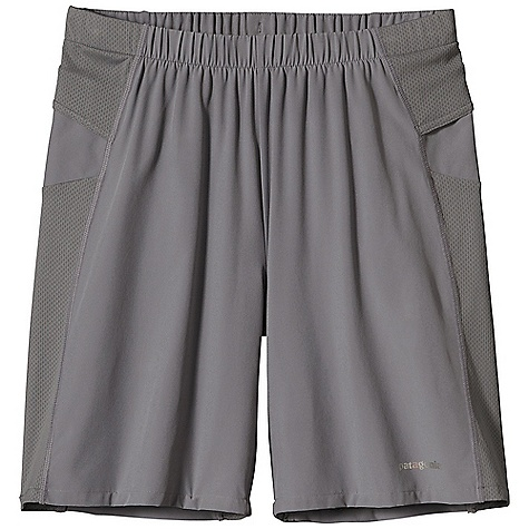 Free Shipping. Patagonia Men's Nine Trails Short DECENT FEATURES of the Patagonia Men's Nine Trails Short Made Of Durable Recycled Polyester/Spandex Stretch-Woven Fabric, with Breathable Air Flow Mesh Side-Of-Thigh Panels Shell Fabric Treated with a Deluge DWR Finish for Weather Resistant Protection Lightweight Built-In Liner Wicks Moisture Drawcord at Waist Secures fit Envelope Pockets On Hips Rear Zippered Pocket Reflective Logos On Front and Back The SPECS Regular fit Inseam: 8in. Weight: 5.2 oz / 147 g Body: 3.5 oz 75-Denier 91% All-Recycled Polyester, 9% Spandex, with 4-Way Stretch and a Deluge DWR Finish Gusset, Panels and Rear Pocket: 3.2 oz 100% Polyester Mesh, with Gladiodor Odor Control for The Garment Waistband: 5.6 oz 88% Polyester, 12% Spandex Liner: 3.8 oz Microdenier 100% Polyester Striped Mesh with Moisture-Wicking Performance This product can only be shipped within the United States. Please don't hate us. - $59.00