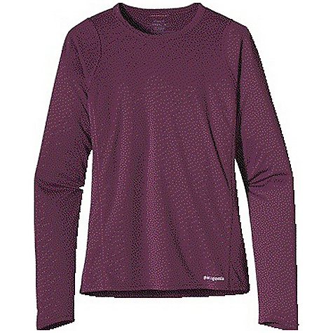 Patagonia Women's L-S Fore Runner Shirt DECENT FEATURES of the Patagonia Women's Long Sleeve Fore Runner Shirt Made of moisture-wicking, breathable polyester double-knit fabric with 30-UPF sun protection Feminine self-fabric crewneck wicks moisture Offset shoulder seams reduce chafing Reflective logos at left hem and below neck The SPECS Slim fit Weight: 3.9 oz / 110 g 3.5-oz 100% polyester double knit with 30-UPF sun protection and Gladiodor odor control for the garment This product can only be shipped within the United States. Please don't hate us. - $45.00