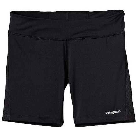 Patagonia Women's All Weather Short DECENT FEATURES of the Patagonia Women's All Weather Short Made of durable and soft polyester/spandex blend with breathable Air Flow mesh panels Flattering waistband with a lay flat drawcord Center-back envelope pocket with key loop Reflective logo on front and back Can be worn alone or under liner-less shorts The SPECS Formfitting Weight: 3 oz / 85 g Inseam: 6in. 5.6-oz 88% polyester, 12% spandex Panels and Pocket: 3.2-oz 100% polyester mesh This product can only be shipped within the United States. Please don't hate us. - $45.00