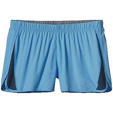 Patagonia Women's Strider Short DECENT FEATURES of the Patagonia Women's Strider Short Ultra-lightweight and fast-drying polyester with Air Flow mesh panels for breathable comfort Covered elastic waistband with internal draw cord Lightweight built-in liner wicks moisture and dries fast Internal envelope pocket Reflective logo on left hem The SPECS Regular fit Inseam: 3 1/4in. Weight: 3.3 oz / 94 g Body: 2.3-oz 50-denier 100% polyester (50% recycled) Panels: 3.2-oz 100% polyester Air Flow mesh Liner: 3.8-oz 100% micro denier polyester crepe with moisture-wicking performance and a Deluge DWR (durable water repellent) finish This product can only be shipped within the United States. Please don't hate us. - $39.00