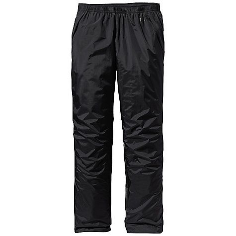 Free Shipping. Patagonia Women's Torrentshell Pant DECENT FEATURES of the Patagonia Women's Torrentshell Pant H2No Performance Standard shell with waterproof/breathable 2.5-layer nylon ripstop Pull-on elasticized waistband with internal draw cord Pockets: two zippered hand warmers and zippered right rear pocket, all have Deluge DWR-treated zippers, storm flaps and mesh pocket bags Articulated knees Adjustable, self-fabric hook-and-loop closure at ankle with Deluge DWR-treated zipper and storm flap Pants stow in self-stuff left hand warmer pocket with carabiner clip-in loop The SPECS Regular fit Weight: 8.6 oz / 244 g H2No Performance Standard Shell: 2.5-layer, 2.6-oz 50-denier 100% nylon ripstop with a waterproof/breathable barrier and a Deluge DWR (durable water repellent) finish This product can only be shipped within the United States. Please don't hate us. - $99.00
