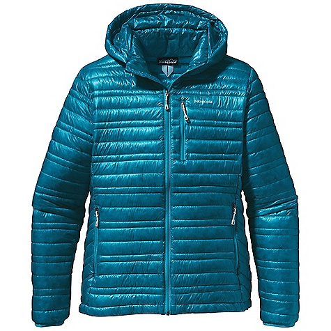 Free Shipping. Patagonia Women's Ultralight Down Hoody DECENT FEATURES of the Patagonia Women's Ultralight Down Hoody The lightest-weight, strongest shell fabric we've ever engineered for down garments with a Deluge DWR finish 800-fill-power premium European goose down for low-bulk warmth Variegated channel construction stabilizes insulation and also allows the use of less down, creating an elegant, low-profile garment Low-profile, adjustable hood seals out wind Zippered pockets: two hand warmers, one chest Drawcord hem seals out cold and spindrift Self-fabric stuff sack The SPECS Slim fit Weight: 8.9 oz / 252 g Shell and Lining: 0.8 oz 10-denier 100% nylon ripstop with a Deluge DWR (durable water repellent) finish Insulation: 800-fill-power premium European goose down This product can only be shipped within the United States. Please don't hate us. - $329.00