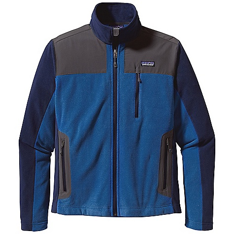 Free Shipping. Patagonia Men's Cedars Jacket DECENT FEATURES of the Patagonia Men's Cedars Jacket Made of Soft, Brushed Polyester Fleece with a Heathered Face Yoke, Internal Wind Flap and Handwarmer Pockets Have Durable Stretch-Woven Contrast Fabric Double-Fabric Stand-Up Collar Full-Length Zip with Wind Flap and Zipper Garage Zippered Pockets: Two Handwarmers and Chest Pocket with Zipper Garage Flat Seams for Less Bulk Hip Length The SPECS Regular fit Weight: 16.2 oz / 458 g Body and Contrast: 5.9 oz 100% Polyester Heathered Fleece Shoulders, Wind Flap and Pockets: 4.5 oz 96% Nylon, 4% Spandex, with a DWR (Durable Water Repellent) Finish This product can only be shipped within the United States. Please don't hate us. - $129.00
