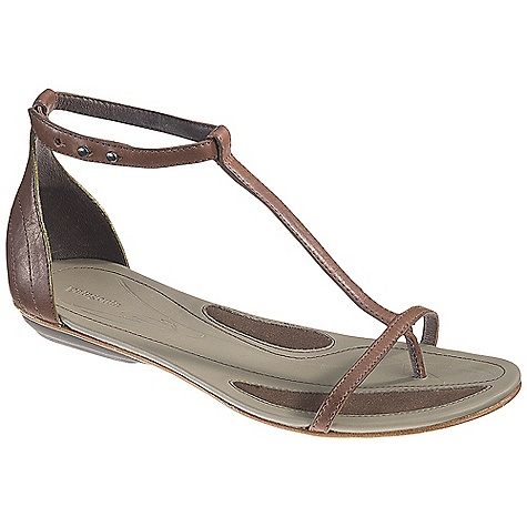 Entertainment On Sale. Free Shipping. Patagonia Women's Bandha T-Strap DECENT FEATURES of the Patagonia Women's Bandha T-Strap Full grain leather upper Glove-like pigskin lining provides luxurious feel and comfort Latex foam footbed for superior comfort and support Patagonia Air Cushion technology in heel for comfort 2mm steel shank provides underfoot stability and proper flex in forefoot Recycled synthetic leather sole with 20% recycled rubber heel and forefoot pads for added traction cushioning and durability Construction: Cement Last characteristics: medium width, toe box and arch support The SPECS Weight: 1/2 pair: 5 oz Better Leather Medium Support/flex Recycled Rubber - $82.99
