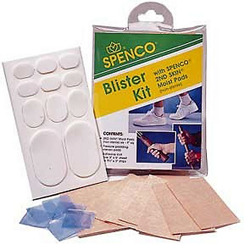 "Sports On Sale. Spenco Blister Kit The Blister Kit by Spence is a compact 5 1/2"" x 4 1/4"" resealable pouch for convenient protection, prevention and relief from friction, pressure and blisters. Kit contains 6 - 3"" x 1 1/2"" and 1 - 3"" x 5"" Adhesive Knit, 6 - 1"" squares 2ND SKIN(R) Dressing and 1 - 3"" x 5"" sheet of Pressure Pad ovals. Easy to carry in purse, backpack, tool box, car glove compartment or keep at home. - $6.99"