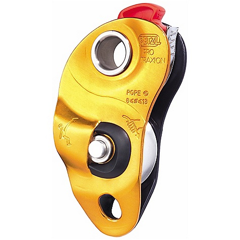 Climbing Free Shipping. Petzl Pro Traxion Pulley DECENT FEATURES of the Petzl Pro Traxion Pulley Pulley with integrated progress capture device can be used as a pulley or rope clamp The trigger cam with teeth and cleaning slot works even on dirty or icy ropes The ergonomic spring-loaded catch is easy to manipulate, even with gloves The spring-loaded catch can be locked in open position for use as a simple pulley Large diameter aluminum sheave mounted on sealed ball bearings for excellent efficiency Lockable moving side plate makes it possible to install the rope easily even if the pulley is already attached to the anchor Auxiliary attachment point for locking the pulley and creating different types of hauling systems For use with ok or William type carabiner The SPECS Weight: 265 g Case Quantity: 10 Rope Diameter: Minimum: 8 mm, Maximum: 13 mm Sheave Type: Sealed ball bearings Sheave Diameter: 38 mm Efficiency: 95% Working Load: 3 kN x 2 = 6 kN Working load as progress capture pulley: 2.5 kN Breaking strength as progress capture pulley: 4 kN Certification(s): CE EN 567 CE EN 12278 ALL CLIMBING SALES ARE FINAL. - $135.00