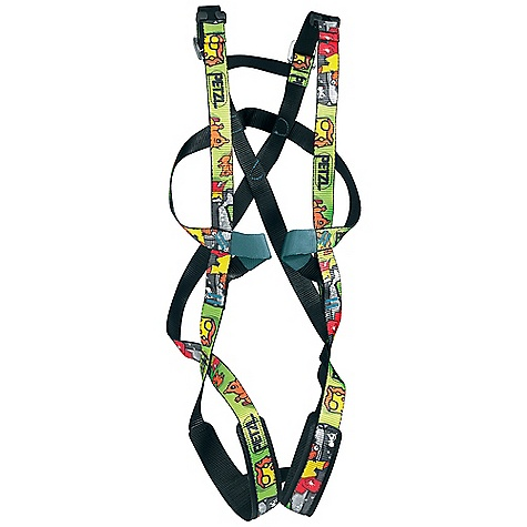 Climbing Free Shipping. Petzl Kids' Ouistiti Full Body Harness FEATURES of the Petzl Kids' Ouistiti Full Body Harness For children from 4 to 9 years old weighing under 30 kg Two DoubleBack buckles adjust in the back of the harness to keep them out of reach of the young wearer Bicolor webbing (black inside, colored outside) facilitates donning One-size-fits-all Reusable zippered sacks allow customers to try on harness while assuring a neat in-store display - $54.95