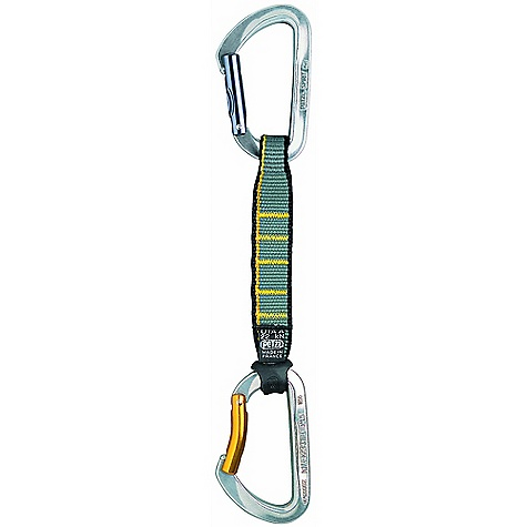 Climbing On Sale. Petzl Spirit Quickdraw - 17 cm FEATURES of the Spirit Quickdraw - 17 cm by Petzl Available in two sizes: 11 or 17 cm SPECIFICATIONS: 3-year guarantee Weight: 104 g (11 cm), 109 g (17 cm) Materials: hot-forged aluminum 7000, nylon webbing Quickdraw breaking strength: 22 kN Carabiner breaking strength: major axis: 23 kN, open gate: 9.5 kN, cross-loaded: 10 kN Gate opening: 20 mm ALL CLIMBING SALES ARE FINAL. - $22.06