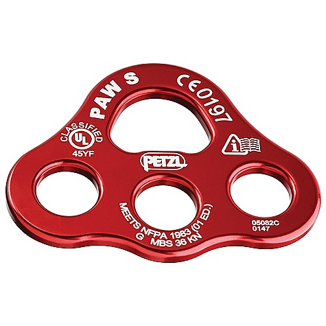 Climbing The new Paw S by Petzl is a rigging plate for the belay and creating a system with multiple anchors. Useful in big wall Climbing and for setting up Tyrolean traverses. Features of the Petzl Paw Small Three anchor point holes Helps to equalize loads Lightweight and durable: Made of aluminum - $22.46