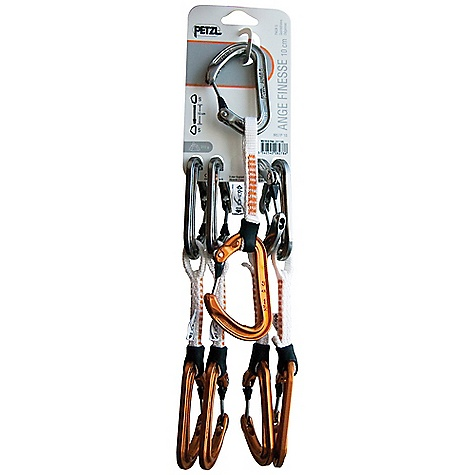Climbing Free Shipping. Petzl Ange Finesse Pack of 5 The SPECS Minor Axis: 7 kN Case Quantity: 8 Sling: 22 kN Capacity: 21 mm Certification(s): CE EN 12275 type B / UIAA (carabiners), CE EN 566 / UIAA (quickdraws) Material: Aluminum Carabiners, Dyneema Slings with nylon stitching The SPECS for ANGE S Breaking Strength: Major Axis: 20 kN Open Gate: 9 kN Weight: 63 g Capacity: 19 mm Gate Opening: 23 mm Length of sling: 10 cm The SPECS for ANGE L Breaking Strength: Major Axis: 22 kN Open Gate: 10 kN Weight: 72 g Gate Opening: 26 mm Length of sling: 17 cm ALL CLIMBING SALES ARE FINAL. - $115.00