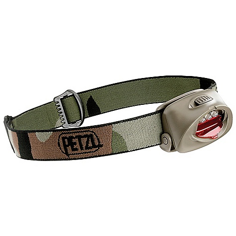 Camp and Hike Petzl Tactikka Headlamp DECENT FEATURES of the Petzl Tactikka Headlamp Long burn time Three LEDs produce flood beam lighting with a long burn time Compact and lightweight Single compartment contains LED and batteries 78 g including batteries Easy to use and practical One lighting level Beam can be easily aimed where needed Comfortable and adjustable elastic headband The SPECS Certification: CE Case Quantity: 52 Weight: 78 g Beam Pattern: Wide Maximum Light Quantity: 26 lumens Maximum Lighting Distance: 27 m Maximum Battery Life: 120 h Number of Batteries: 3 Battery Type (included): AAA/LR03 Water Tightness: IP X4 (water resistant) Material: Red filter made of impact resistant polycarbonate Light Quantity: 26 lumens, Distance t=0: 27 m, Distance t=0h30: 22 m, Distance t=10h00: 14 m, Distance t=30h00: 6 m, Battery life: 120 h - $36.95