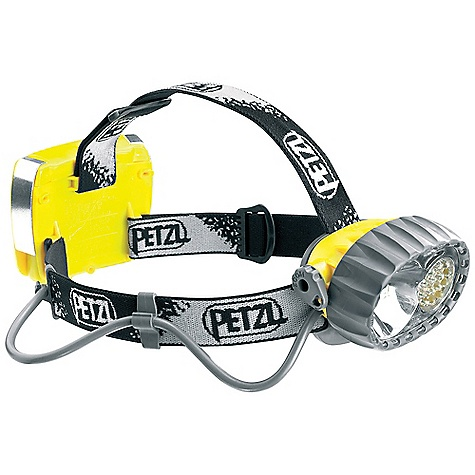 Camp and Hike On Sale. Free Shipping. Petzl Duo LED 14 Headlamp DECENT FEATURES of the Petzl Duo LED 14 Headlamp Rugged headlamp Durable construction Waterproof down to -5 meters Two powerful light sources to choose from, depending on the activity Halogen light for long-range, focused lighting Fourteen LEDs for flood beam proximity lighting, with three lighting modes (maximum, optimum, economic) Constant level of proximity lighting with a long burn time Fourteen regulated LEDs for a constant level of lighting until the batteries are almost discharged Automatically switches to reserve power mode when batteries are almost discharged Comfortable and easy to use Adjust able and comfortable elastic headband On/off switch can be locked to prevent accident al operation Light body can be tilted Space for spare halogen bulb in the light body of the headlamp The SPECS Certification: CE Weight: 300 g Beam Pattern: Wide or focused Light Quantity: 67 lumens (14 LEDs, maximum mode) Halogen: Distance: t = 0: 100 m, t = 0 h 30: 70 m, Battery Life: 4 h LEDs: Maximum Mode: Distance: 34 m --> 3h30, t = 10 h: 9 m, Battery Life: 183h30 Optimum mode: 26 m --> 10 h, Battery Life: 148 h Economic mode: Distance: 15 m --> 63 h, Battery Life: 110 h Constant Lighting: Yes Number of Batteries: 4 Battery Type (included): AA/LR6 Water Tightness: IP X8 (waterproof down to -5 meters) Spare halogen bulb included Operates with optional ACCU DUO rechargeable battery (E65100 2) - $164.95