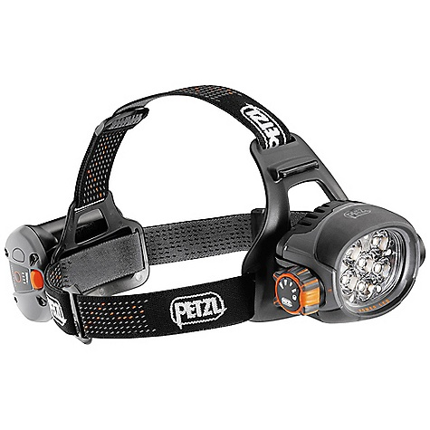 Camp and Hike Free Shipping. Petzl Ultra Headlamp DECENT FEATURES of the Petzl Ultra Headlamp Ultra high-output lighting Three lighting modes adapt lighting to the activity Economic: lights to 40 meters for 16 h 45 (50 lumens) Optimum: lights to 80 meters for 4 h 45 (190 lumens) Maximum: lights to 120 meters for 1 h 30 (350 lumens) Constant lighting guarantees performance that will not decrease during its entire lifetime; switches to reserve mode for a minimum of 30 minutes when rechargeable battery is almost discharged High-output LEDs Comfortable and ergonomic: Excellent stability on the head: compact design, flexible stabilization plate and comfort foam, wide elastic headband and adjustable top strap Easy to use: choice of lighting level with intuitive dial High-performance rechargeable batteries Rechargeable 2000 mAh Lithium Ion battery offers large capacity and excellent performance at low temperatures, but remains as light as possible Test button for rechargeable battery with battery level indicator Reliable and durable Durable construction and storm resistant (IP 66) Bulb does not need to be replaced Lamp and rechargeable batteries are guaranteed for 3 years Versatile Light body can be tilted vertically to change light direction Connection system allows the battery to be removed quickly for recharging Reflective sticker for rechargeable battery pack Included Headlamp and adjustable headband Rechargeable 2000 mAh Lithium Ion battery and quick charger Europe and in North America adapters Technical information The SPECS Weight: 345 g Beam pattern: wide Rechargeable battery (included): ACCU 2 ULTRA Watertightness: IP 66 Certification: CE - $430.00