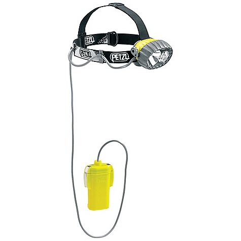 Camp and Hike On Sale. Free Shipping. Petzl Duobelt LED 5 Headlamp DECENT FEATURES of the Petzl Duobelt LED 5 Headlamp Remote battery pack allows the user to: Reduce the weight worn on the head to only 140 g Protect the batteries from cold winter conditions Rugged headlamp Durable construction Waterproof down to -5 meters Long burn time Uses large capacity batteries (C/LR14) Weight worn on the head is reduced to 140 g Two light sources to choose from depending on the activity Halogen light for long-range, focused lighting with regulated zoom Five LEDs for flood beam lighting with a long burn time Comfortable and easy to use Adjustable and comfortable elastic headband On/off switch can be locked to prevent accidental operation Light body can be tilted Included: Headlamp and adjustable headband 4 C/LR14 batteries Spare halogen bulb in the light body of the headlamp Technical information The SPECS Certification: CE Weight: 550 g Weight Worn on Head: 140 g Beam Pattern: Wide or focused Light Quantity: 40 lumens Lighting Distance: Halogen: t = 0: 100 m, t = 0 h 30: 80 m, t = 10 h: 35 m, LEDs: t = 0: 28 m, t = 0 h 30, t = 10 h: 22 m, t = 30 h: 19 m Battery Life: Halogen: 11h30, LEDs: 350 h Number of Batteries: 4 Battery Type (included): C/LR14 Water Tightness: IP X8 (waterproof down to -5 meters) Spare halogen bulb included - $116.95