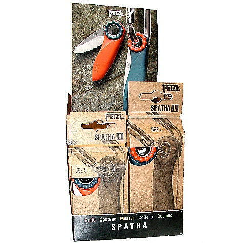 Camp and Hike Free Shipping. Petzl Spatha 12-Pack Kit DECENT FEATURES of the Petzl Spatha 12-Pack Kit Textured wheel at blade axis allows easy opening Serrated blade on small version useful for cutting webbing and rope Smooth blade on large model ideal for cutting bread and sausage Stainless steel blade The SPECS Material: stainless steel pick, nylon shaft The SPECS for 120 mm Weight: 70 g Other specifications: 120 mm (knife closed) The SPECS for 98 mm Weight: 50 g Other specifications: 98 mm (knife closed) - $310.00
