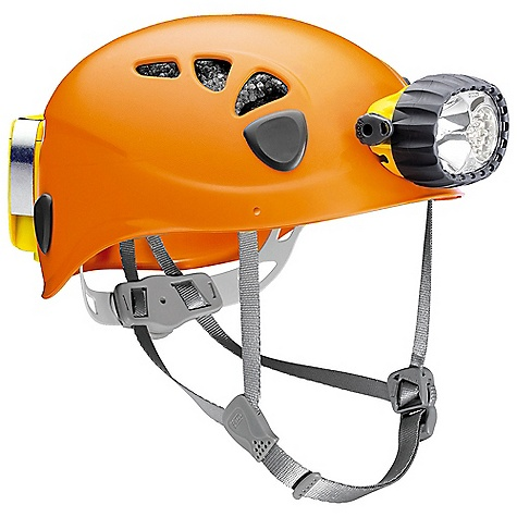 Climbing Free Shipping. Petzl Trios Caving Helmet DECENT FEATURES of the Petzl Trios Caving Helmet Designed for cavers looking for a two-in-one solution that is complete, durable and comfortable Lighting is ensured by the rechargeable ULTRA VARIO headlamp With four multi-beam lighting modes, it is ideal under any conditions Great for proximity vision with maximum battery life or to light at a great distance The SPECS Material(s) (helmet): ABS shell, expanded polystyreneliner, polyester webbing strap. Constant lighting Weight: helmet 330 g + lamp 230 g + ACCU 2 ULTRA145 g Watertightness: IP 67 (waterproof to -1 m for 30 minutes, no maintenance required after immersion) Works with ACCU 2 ULTRA Lithium-Ion rechargeable battery, 2600 mAh (included) Quick charge in 3 hours Certification(s): CE ALL CLIMBING SALES ARE FINAL. - $560.00