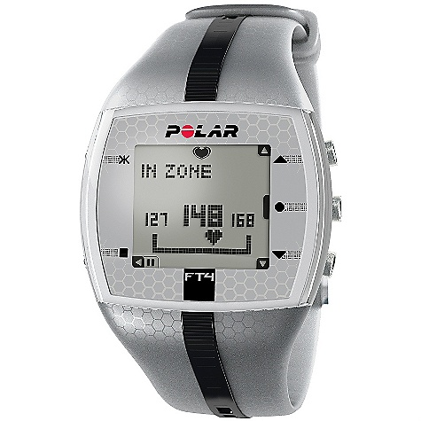 Fitness Free Shipping. Polar FT4 Heart Rate Monitor FEATURES of the FT4 Heart Rate Monitor by Polar Shows when you're improving fitness based on your heart rate Displays calories burned Comes with comfortable textile transmitter and coded heart rate transmission to avoid cross-talk Basic Features Automatic age-based target zone (% / bpm) - %/bpm Automatic/Manual target zone (% / bpm / HRR%) Backlight Graphical target zone indicator Heart rate (displayed as % of maximum heart rate) Heart rate (displayed as bpm) Visual and audible alarm in target zones Manual target zone (% / bpm) - %/bpm KeyLock Backlight Polar Exercise Features Average and maximum heart rate of training HR-based target zones with visual and audible alarm Polar OwnCode (5kHz) - coded transmission Polar OwnCal - calorie expenditure Wireless ECG accurate heart rate Recording Features Average heart rate Calorie expenditure Exercise Time (total) Exercise file info page with date and time Maximum heart rate Number of exercise files (with summaries) Target zone limits Time in target zone Totals Transmitter Belt WearLink 31 coded transmitter (changeable battery) Training Features Training files (with summaries) - 10 HeartTouch - button-free operation of wrist unit Watch Features Alarm with snooze Date and weekday indicator Dual time zone Low battery indicator Stop Watch Time of day (12/24h) with alarm User replaceable battery Language Features Display text in English, German, Finnish, Swedish, French, Portuguese, Spanish, and Italian Includes Polar FT4 training computer Polar WearLink + transmitter Quick Guide - $89.95