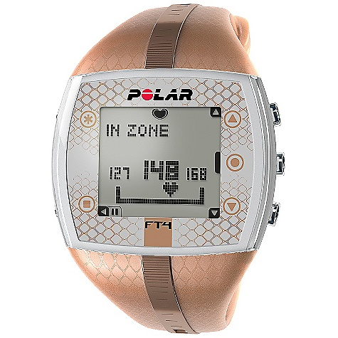 Fitness Free Shipping. Polar FT4 Women's Heart Rate Monitor FEATURES of the Women's FT4 Heart Rate Monitor by Polar Shows when you're improving fitness based on your heart rate Displays calories burned Comes with comfortable textile transmitter and coded heart rate transmission to avoid cross-talk Basic Features Automatic age-based target zone - bpm / % Backlight Graphical target zone indicator Heart rate (displayed as % of maximum heart rate) Heart rate (displayed as bpm) HeartTouch, button-free operation of wrist unit KeyLock Manual target zone (% / bpm) - %/bpm Visual and audible alarm in target zones Water resistant - 50m Language Features Display text in English, German, Finnish, French, Portuguese, Spanish and Italian Polar Exercise Features Average and maximum heart rate of training Exercise Date HR-based target zones with visual and audible alarm HR-based target zones with visual alarm Polar OwnCal - calorie expenditure Polar OwnCode (5kHz) - coded transmission Maximum heart rate of total exercise Recording Features Average heart rate Calorie expenditure Exercise Time (total) Exercise file info page with date and time Maximum heart rate Number of exercise files (with summaries) Target zone limits Time in target zone Transmitter Belt WearLink 31 coded transmitter (changeable battery) Watch Features Alarm with snooze Date and weekday indicator Dual time zone Low battery indicator StopWatch Time of day (12/24h) with alarm User replaceable battery Includes Polar FT4 training computer Polar WearLink + transmitter Quick Guide - $89.95