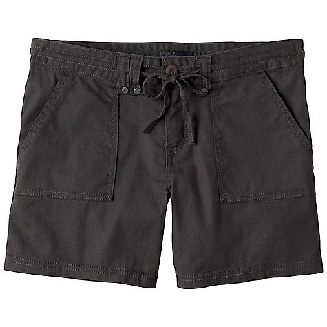 Free Shipping. Prana Women's Tess Short DECENT FEATURES of the Prana Women's Tess Short Stretch 'Tess' canvas Simply styled and versatile Front patch pockets Back flap pockets with button closure Drawcord waistband Rivet detailing Wears well with hem rolled up or down Zipper fly Inseam: 5in. / 12.7 cm Standard Fit The SPECS Solid: 97 Organic Cotton / 3 Spandex 5.5 oz / sq yd Denim Stripe: 99 Cotton / 1 Spandex 7.5 oz / sq yd - $54.95