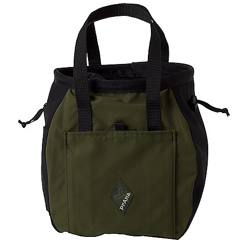 Climbing Features of the Prana Bucket Bag Large bucket that makes a great community chalk source Double drawcord closure Fleece chalk compartment Velcro closure with stash pocket Brush holder Prana trim detail Product made in the United States - $39.95
