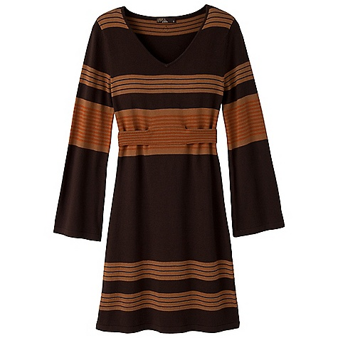 Entertainment Free Shipping. Prana Women's Sydney Sweater Dress DECENT FEATURES of the Prana Women's Sydney Sweater Dress Fine gauge sweater knit Engineered yarn-dye stripe Kimono inspired sleeve and fixed belt at natural waist Size small = 36in. (91.4 cm) length from high point shoulder The SPECS Fabric: 60 Cotton / 40 Acrylic - $84.95