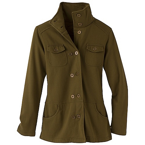 On Sale. Free Shipping. Prana Women's Tori Jacket DECENT FEATURES of the Prana Women's Tori Jacket Fleece jacket with military styling High collar Waist and forward shoulder yoke seams Front hand pockets and chest pockets Standard Fit The SPECS Fabric: 100 Cotton - $58.99