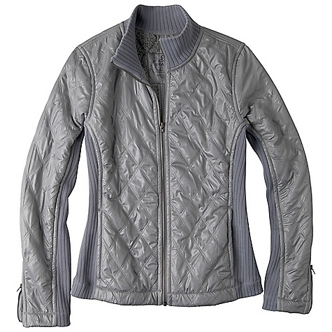 Features of the Prana Women's Diva Jacket Matte polyester with durable water repellent (DWR) finish Sherpa interior lining Rib neck, sleeves and side panel insets Front onseam zip pockets Zippers at sleeves Diamond quilting No fill Resistant to penetration by water but not entirely waterproof Wrinkle-resistant clothing that you can simply take out of the bag, hang and wear. Made with fabric that has stretch and a light-weight feel - $70.99