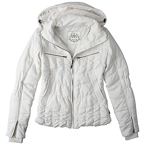 On Sale. Free Shipping. Prana Women's Powder Parka Jacket DECENT FEATURES of the Prana Women's Powder Parka Jacket Matte polyester in.Powder Puffin. fabric with durable water repellent (DWR) finish Removable hood Chest zip pockets and front welt-zip hand pockets Lined and quilted with 100 gm fill Standard fit The SPECS 100 Polyester 1.89 oz / sq yd - $108.99