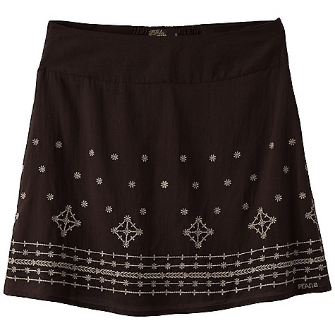 On Sale. Free Shipping. Prana Women's Savvy Skirt DECENT FEATURES of the Prana Women's Savvy Skirt Woven cotton out seam skirt with tonal embroidery art Smocking detail at center back waistband Logo embroidery at hem Fully lined The SPECS Outseam: small: 17.5in. / 44.45 cm Fabric: 100% Cotton - $35.99
