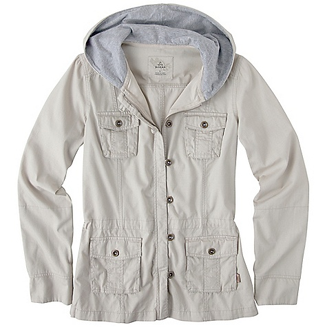 On Sale. Free Shipping. Prana Women's Sahara Jacket DECENT FEATURES of the Prana Women's Sahara Jacket Lightweight cotton canvas jacket with cotton jersey hood lining and sleeve cuffs Metal zipper and metal buttons Interior waist cinch for versatility in fit Heavy enzyme wash for worn look and soft hand feel The SPECS Fabric: 100% Cotton - $60.99