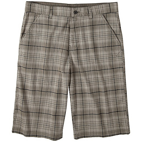 On Sale. Free Shipping. Prana Men's Baxter Short DECENT FEATURES of the Prana Men's Baxter Short Yarn dyed plaid short Back welt pockets Stretch fabrication for ease of movement The SPECS Inseam: 12in. / 30.5 cm Waist: 33in. / 83.8 cm Fabric: 98% Cotton / 2% Spandex - $39.99