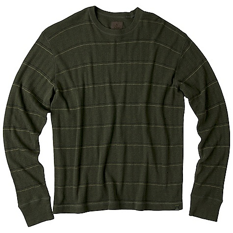 Free Shipping. Prana Men's Ninebark LS Top DECENT FEATURES of the Prana Men's Ninebark Long Sleeve Top Crew neck pull-over Face side is a drop needle striped knit Reverse side is solid jersey for versatility Standard Fit The SPECS Fabric: 100 Organic Cotton Weight: 5.3 oz - $64.95
