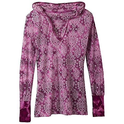 On Sale. Free Shipping. Prana Women's Julz Hoodie Top DECENT FEATURES of the Prana Women's Julz Hoodie Top Lightweight burnout fabric Petal pattern with tonal dip dye technique Pullover silhouette with hood Rib at cuff and neck The SPECS 42 Organic Cotton / 58 Recycled Polyester - $34.99