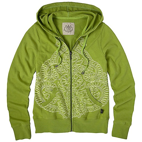 On Sale. Free Shipping. Prana Women's Mandie Hoody DECENT FEATURES of the Prana Women's Mandie Hoody Heathered french terry Placement burn-out print along bottom hemline and sleeve hem Full front zip closure The SPECS Fabric: 50 % Cotton / 50 % Polyester India - $47.99